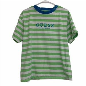 Guess Lime Green Striped Tee w/ Blue Collar